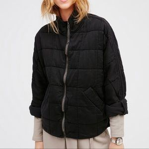 Free People Quilted Dolman Black Medium